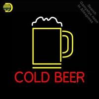 Vender Cerveza fría con taza señal de luz de neón tubo de vidrio artesanía pub cervecería letrero