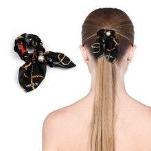 New Womens Elastic Hairband Hair Strap Ponytail Bunny Ear Geometric Print Bundle Bow Girl Headwear