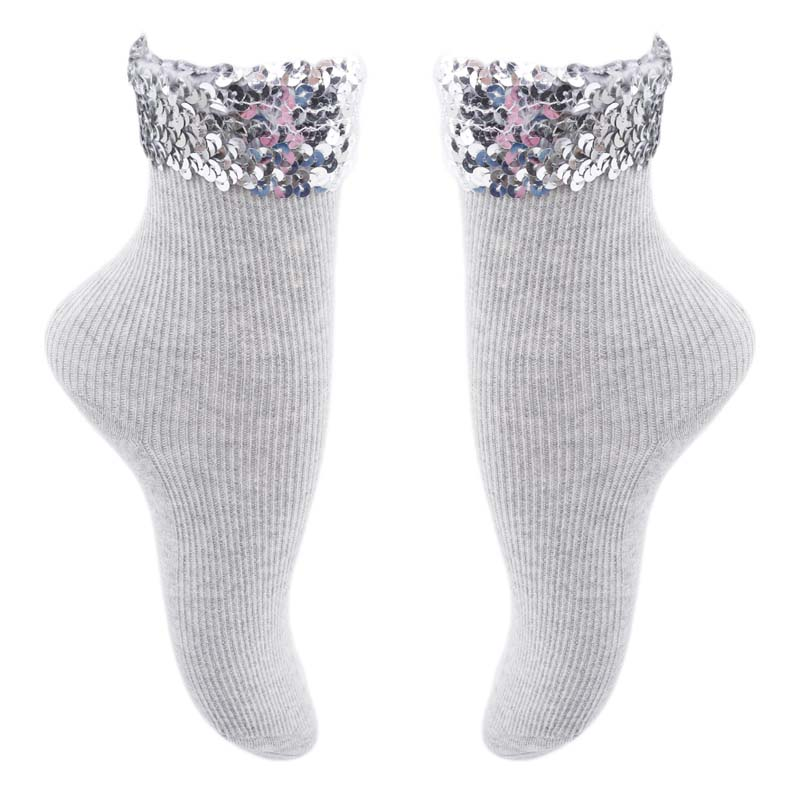 Fall Winter Women's Socks Original Design New High Quality Handmade Sequins Solid Color Socks For Women