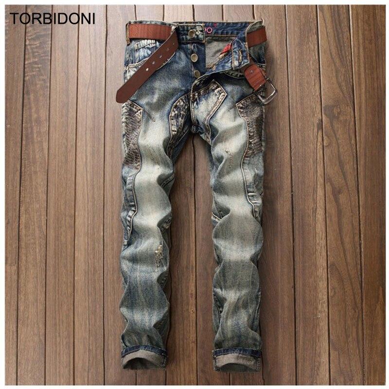 ФОТО 2017 Men Patchwork Jeans Retro Fashion Denim Famous Designer Casual Straight Hole Jeans Men Biker Jeans Personality Multi Pocket