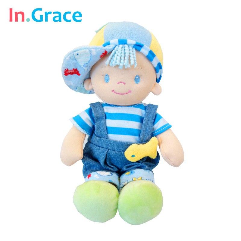 В. GRACE 2016 модные милые детские игрушки детские мягкие сна успокоить Куклы с рыбой Детские Kawaii Плюшевые родился куклы со шляпой 30 см синий