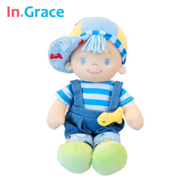 In.Grace 2016fashion cute baby toys baby stuffed sleeping calm dolls with fish baby kawaii plush born dolls with hat 30CM blue цена 2017