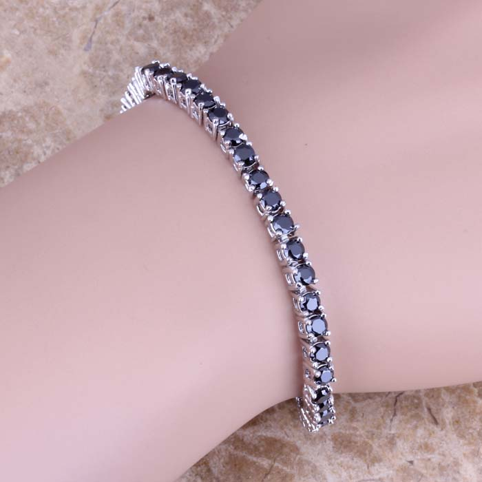 Glittering Black Cubic Zirconia 925 Sterling Silver Link Chain Bracelet 7 inch Free Shipping & Gift Bag S0302A цена
