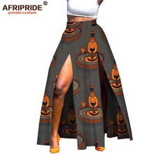 цены 2019 african print summer skirt for women AFRIPRIDE tailor made ankara print ankle length split women wax cotton skirt A1827002