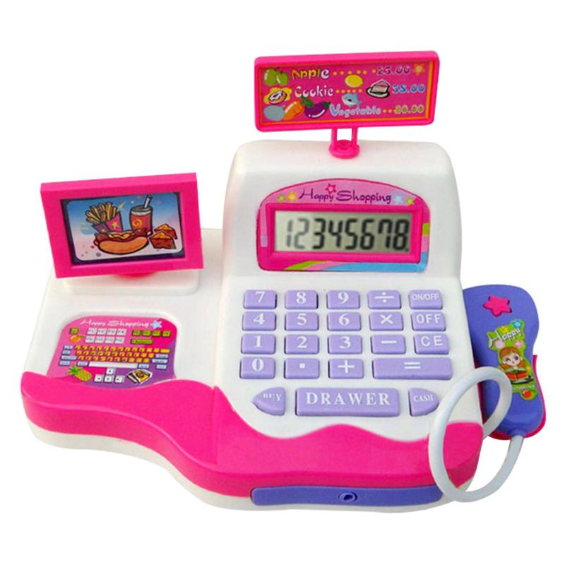 Kids Simulation Supermarket Cash Register with Foods Basket Money Music Light Toy Pretend Play Children Learning Electronic Toys