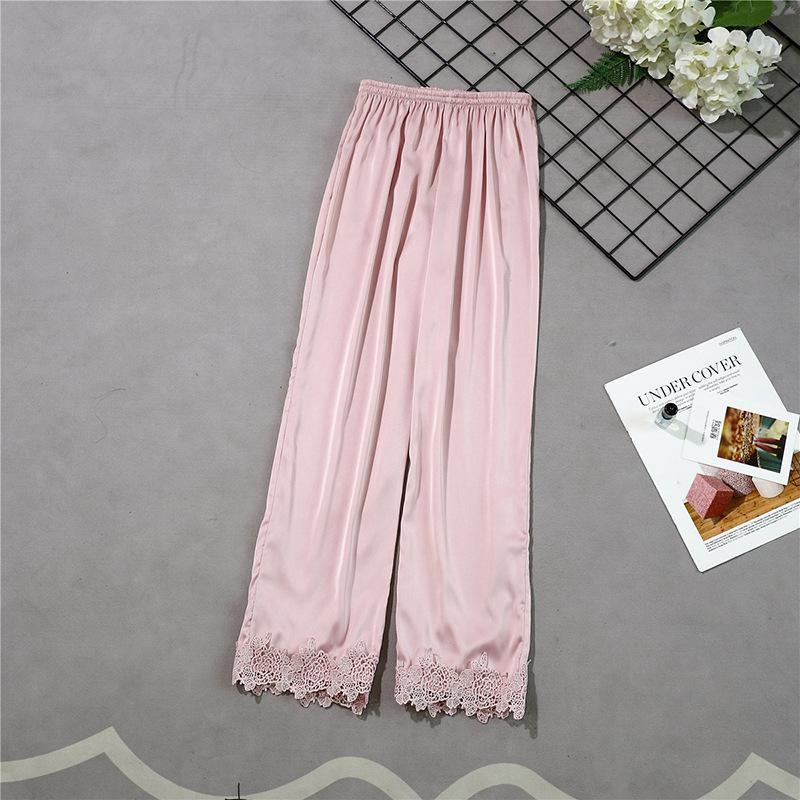 Новые стильные женские длинные штаны Весна Лето Повседневная шелковистая Домашняя одежда пижама брюки для ванной m-xl - Цвет: Розовый