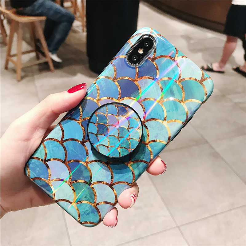 Shiny mermaid scales laser phone cases for iphone 7 8 X XR XS Max 6 S 6s 7 8 plus Ring air bag Stand holder Grip case back cover (2)