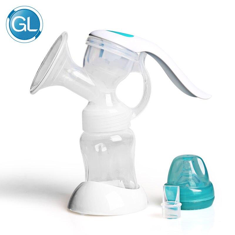 GL Breast Pump Manual Operated Silicone BPA Free Manual Breast Feeding Pump Accessories Nipple Suction with Feeding Milk Bottles