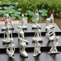 ERMAKOVA 12 Styles Abstract Art Ceramic Yoga Poses Figurine Porcelain Yoga Lady Figure Statue Home Yoga Studio Decor Ornament