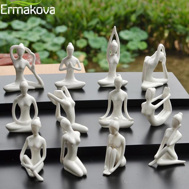 Abstract Art Ceramic Yoga Poses Figurine Porcelain Yoga Lady Figure Statue