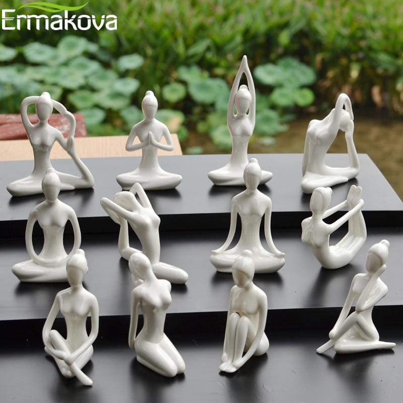 Abstract:  ERMAKOVA 12 Styles Abstract Art Ceramic Yoga Poses Figurine Porcelain Yoga Lady Figure Statue Home Yoga Studio Decor Ornament - Martin's & Co