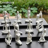 ERMAKOVA 12 Styles Art abstrait céramique Yoga pose Figurine porcelaine Yoga dame Figure Statue maison Yoga Studio décor ornement