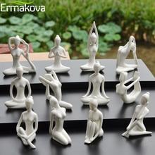 ERMAKOVA 12 Styles Abstract Art Ceramic Yoga Poses Figurine Porcelain Lady Figure Statue Home Yoga Studio Decor Ornament