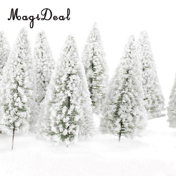 10Pcs/Pack 1/75 White Scenery Landscape Model Cedar Trees for Model Train Track Building Props Scenery 12cm