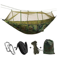 Outdoor Parachute cloth Hammock Steel buckles Hanging Flat ropes Mosquito Net Double Single Air Cot Convenient