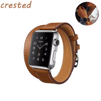 HQ Classical Genuine Leather Double Tour Wrist Bracelet Watchband For Iwatch Apple Watch Band 38mm Women