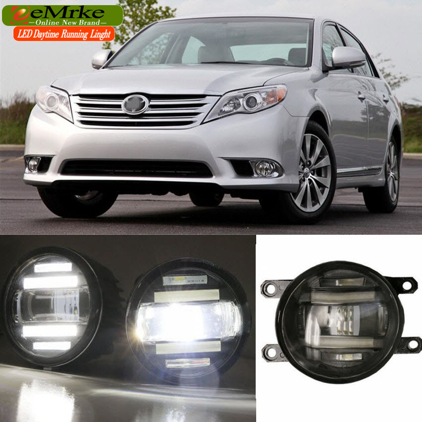 eeMrke Xenon White High Power 2in1 LED DRL Projector Fog Lamp With Lens For Toyota Avalon XX30 XX40 2005-2016