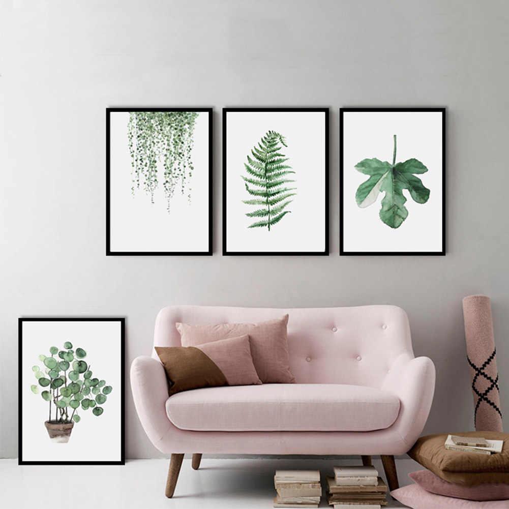 المائية أوراق نباتية استوائية الحد الأدنى الفن قماش المشارك اللوحة الطبيعة جدار الصورة الحديثة المنزل مكتب غرفة الديكور