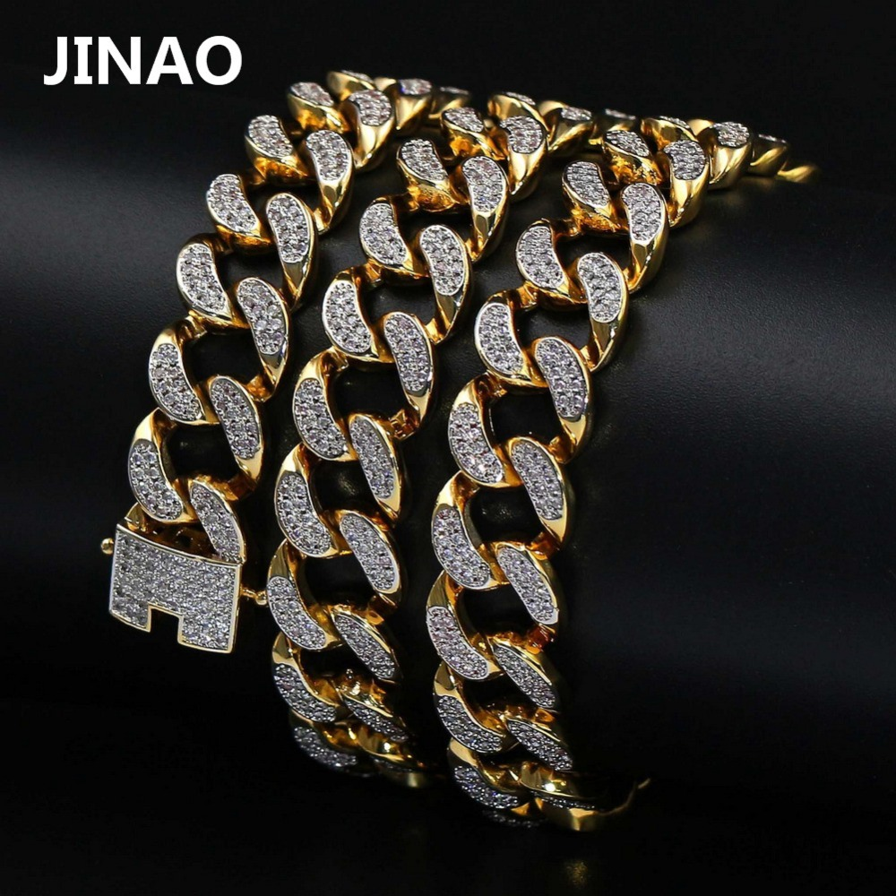 JINAO Hip Hop New Style Male Micro Pave Cubic Zircon Necklace All Iced Out Gold Color Bling Jewelry Cuban Chain20