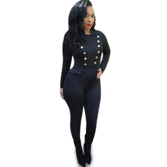 2016 otoño cruzado de manga larga body jumpsuit sexy moda negro femme combinaison monos mamelucos womens jumpsuit