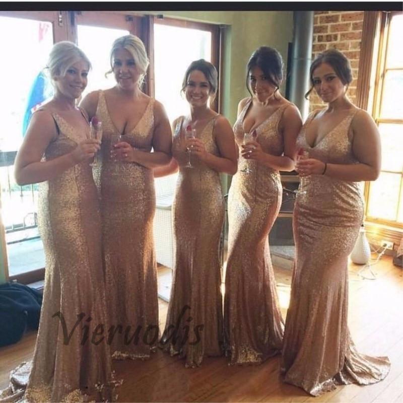 Golden Long vestido longo Sequined Sleeveless Floor Length Bridesmaid Dress 2019 Prom Dress Wedding Party Dress in Bridesmaid Dresses from Weddings Events