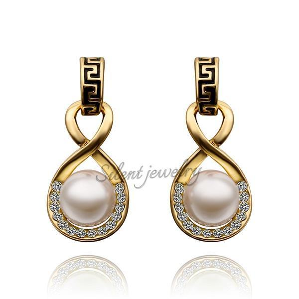 Free Shipping Saudi Style Newest 18k Gold Jewelry Whole China Tops Design Solid Earring Exquisite Freshwater Pearl In Stud Earrings From