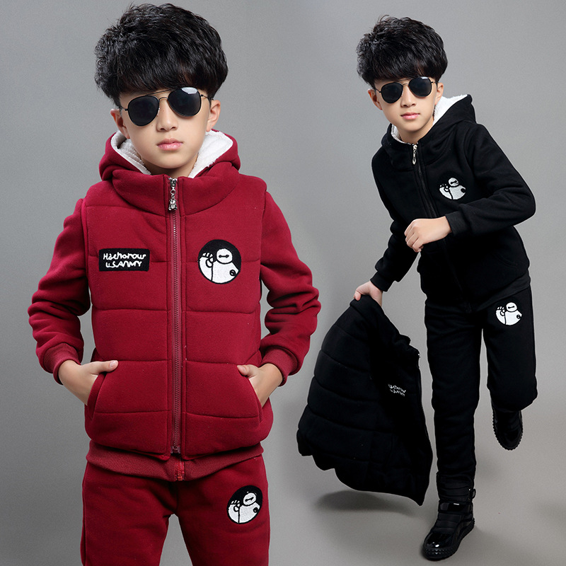 winter children's clothing suit boys & girls casual sports set fleece thick warm kids outwear hoodies vest pant 3 pieces PT122-1