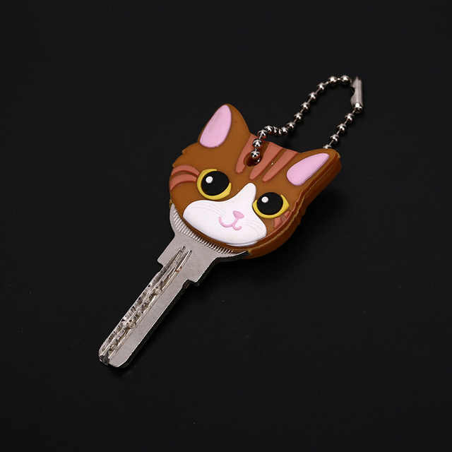 Lovely Animals Shape Key Ring Silicone Cap Head Cover Key Case Shell Keychain Jewelry Gift 4