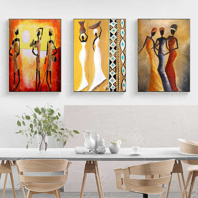 Vintage Wall Art Canvas Painting Abstract Home Decoration Poster African Woman For Living Room Home Decor Print Picture No Frame Painting Calligraphy Aliexpress