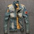 Осень Новый Отверстие Заклинание Джинсовой Куртки Мужчины Мода Ретро Джинсы мужские Джинсовые Куртки Мужские Пальто