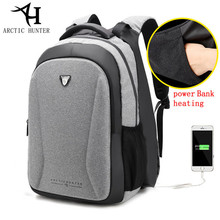 ARCTIC HUNTER 2018 men Fashion Casual USB Charging Backpack mobile power Hand Warm Backpack women Laptop Anti Theft travel pack