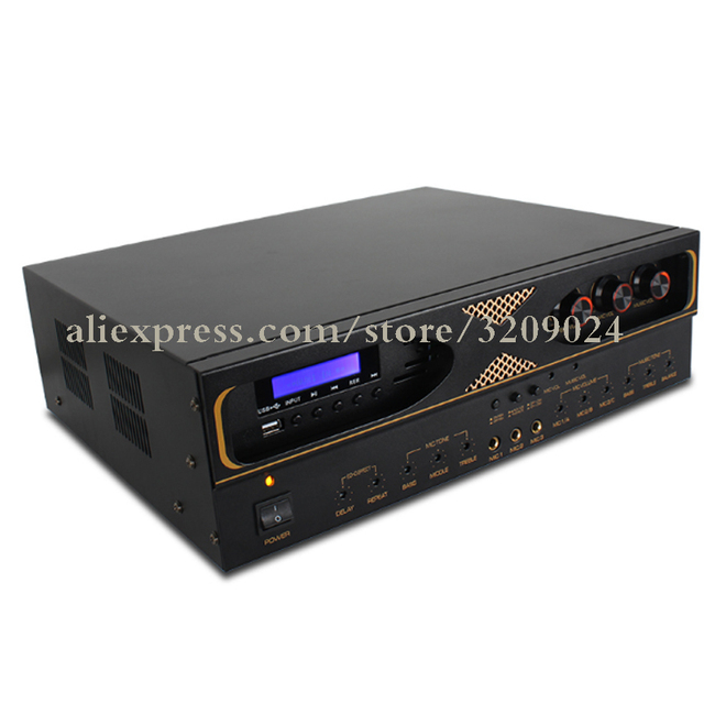 Card Package Amplifier 500W*500W Dual Reverb Microphone KTV High Power With USB Bluetooth AV Integrated Power Amplifier Mic