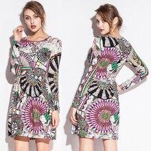 New Summer Women's Floral Print Sexy Long-sleeved Dress  Shrink Waist Slim Dresses Out Wear Skirt