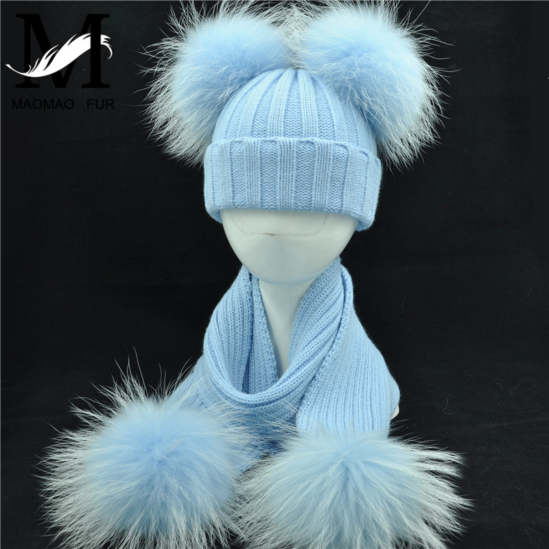 Winter Real Fur Scarf And Hat Set Kids Big Real Raccoon Fur Balls Hat Double Fur Pom Pom Beanies Children Girls Warm  Scarf Cap