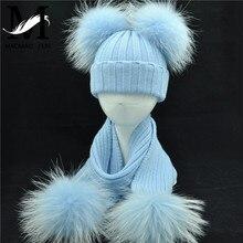 Winter Real Fur Scarf and Hat Set Kids Big Real Raccoon Fur Balls Hat Double Fur Pom