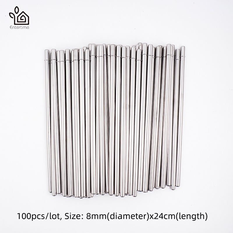 Straws Batch 100pcs lot Metal Straw Reusable stainless Steel Drinking straws 24mm 8mm long Straight Straws