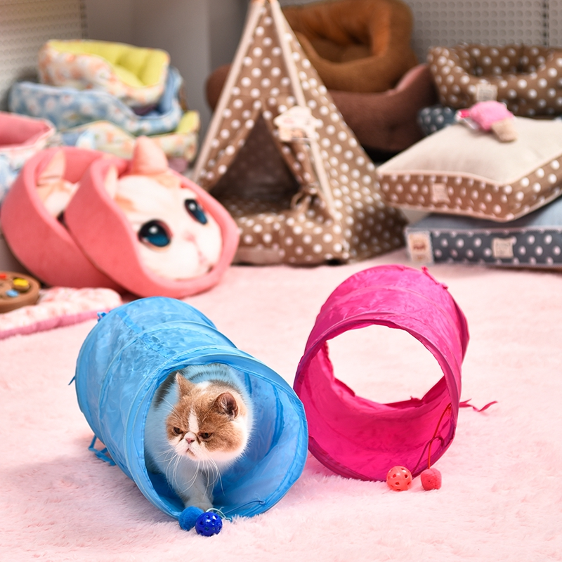 Pet Cat Tunnel Toy Funny 2 Holes Interactive Cat Toys Tubes With Two Balls Collapsible Rabbit Puppy Kitten Play Toys Catnip Toy image