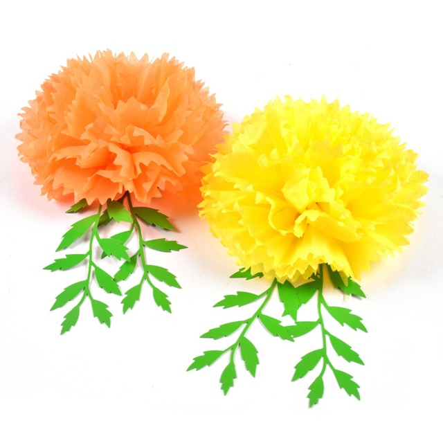 Day of the dead marigold hanging paper flowers leaves yellow orange day of the dead marigold hanging paper flowers leaves yellow orange pom poms diy crafts halloween mightylinksfo