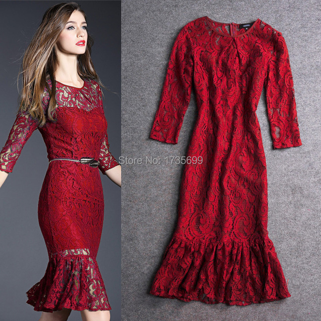 b5fed4ce9a7 2015 summer long sleeve knee length lace dresses black red green sexy women  dress short patchwork casual vestidos plus size S-XL
