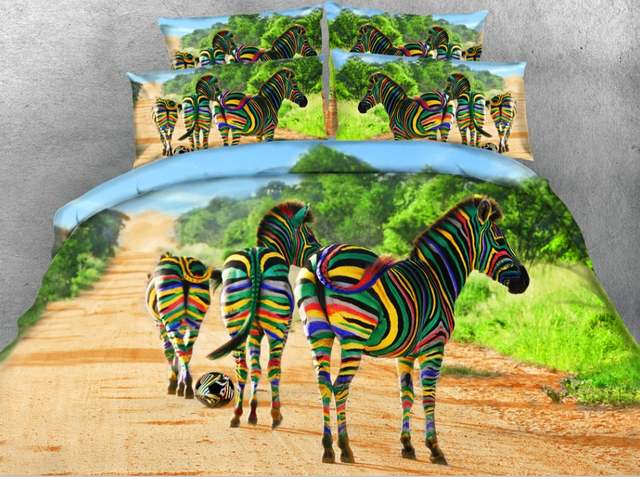Online Shop 3d Bunte Zebra Bettwäsche Set Animal Print Quilt