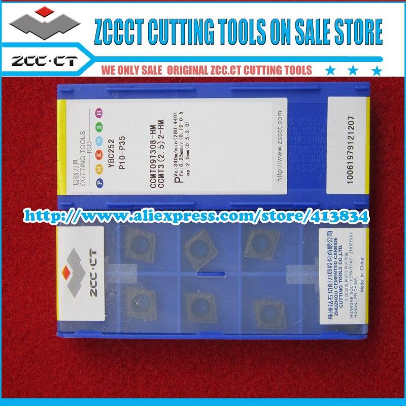 10pcs ZCC insert CCMT09T308 HM YBC252 CCMT CCMT09 CCMT09T3 ZCC CT Cemented Carbide CNC Cutting tools