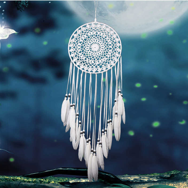 Dream Catcher Home Decor White Feather Dreamcatcher Wind Chimes Indian Style Religious Mascot Car Wall Decoration dreamcatcher
