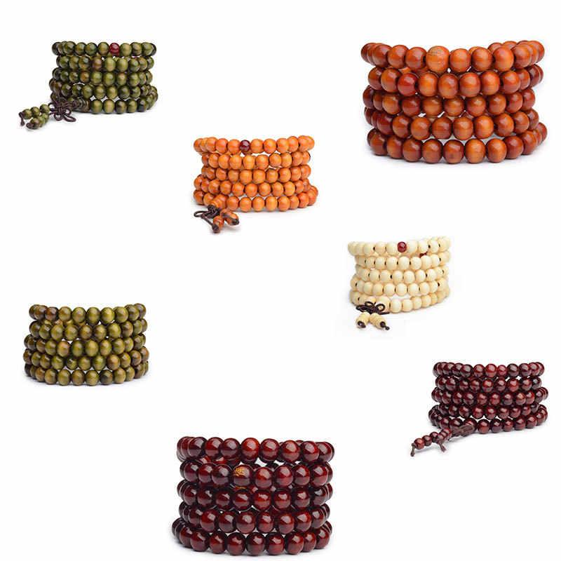 Pulseras 108 koraliki 8mm z prawdziwego drzewa sandałowego buddyjski budda drewno sznur modlitewny Mala Unisex mężczyźni bransoletki i bangles biżuteria bijoux