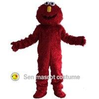 Rue de sésame Rouge Elmo De Mascotte Costumes Longue fourrure rouge monstre Halloween Mascotte de bande dessinée Costumes