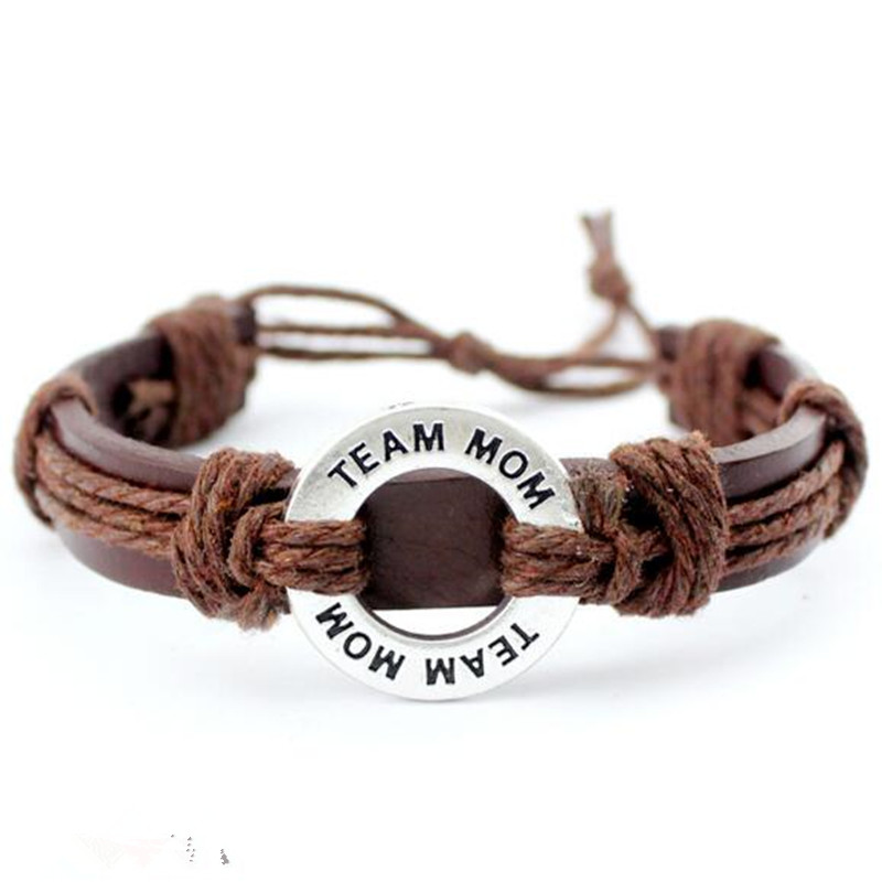 Silver TEAM MOM Charm Adjustable Leather Bracelet for Men & Women Friendship Bangle Punk Casual Wristband Jewelry 10pcs/lot