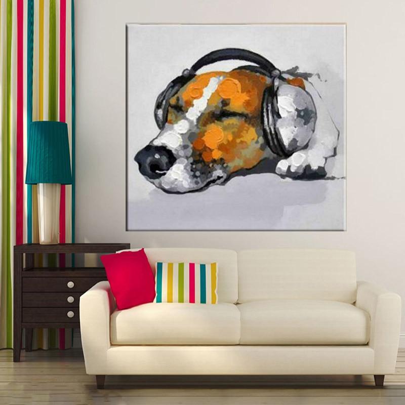 Artist 100% Handmade Animal Paintings On Canvas Modern Knife Painting Dog Enjoying Music Oil Painting Decorative paintings