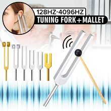 6Pcs 128/256/512/1024/2048/4096HZ Medical Tuning Fork Chakra Healing Sound Therapy Tuner+Hammer+Mallet+Bag Musical Instrument(China)