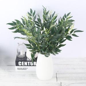 Image 2 - Hojas de Sauce de seda Artificial rama larga plantas falsas verdes primavera boda hogar arreglo de Decoración Accesorios follaje sintético