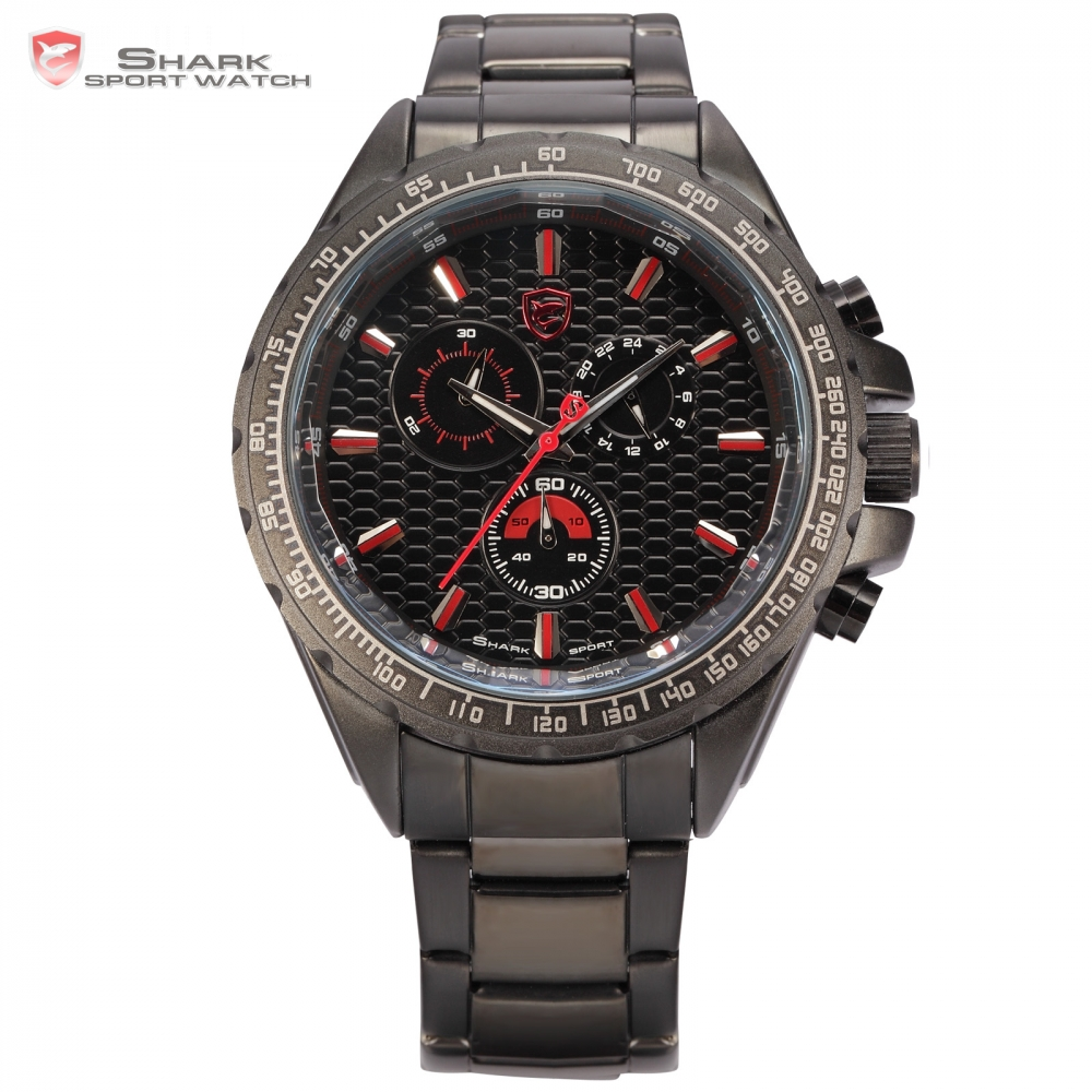 Shark Sport Watch New Luxury Brand 24 Hours Display Chronograph Full Steel  Red Male Clock Men Quartz Homme Wristwatch / SH191 splendid brand new boys girls students time clock electronic digital lcd wrist sport watch