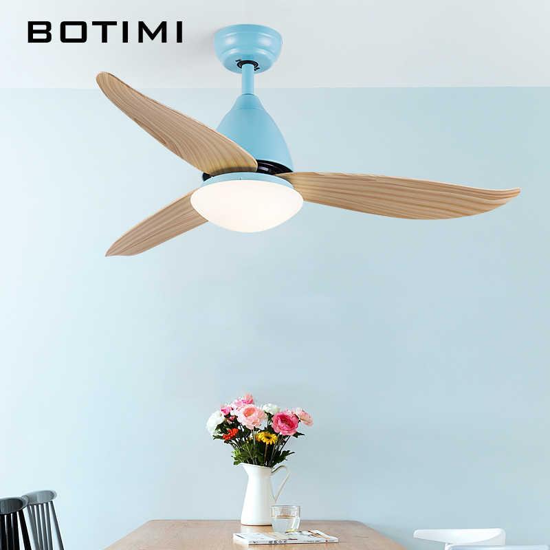 BOTIMI скандинавский потолочный вентилятор для гостиной 220 V 46 Inch Ventilateur современные потолочные вентиляторы с освещением крытые Охлаждающие вентиляторы